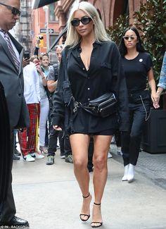 Dark side: On Saturday, Kim Kardashian, 36, was seen walking through the streets in New York, clad in a head-to-toe black ensemble