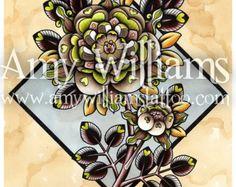 Blue Roses Tattoo Art A3 Print by amybird on Etsy