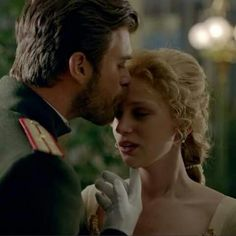 Seyit, Kivanc Tatlitug kissing Sura, Farah Zeynep Abdullah, at her second ball at the Borinsky home in St Petersburg. Sura's first kiss and she has fallen in love with Seyit..... head over heels in love.