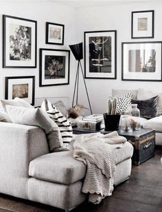 wohnzimmer wandfarbe grau wandgestaltung mit bildern