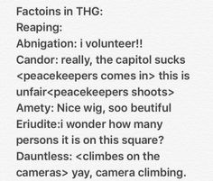 Factions in The hungergames