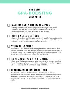 GPA Boosting Checklist
