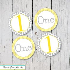 One and 1 First Birthday Yellow and Gray Deco Dots - Printable Stickers, Cupcake Toppers or Decorations by HomePartyPrints on Etsy https://www.etsy.com/listing/217778353/one-and-1-first-birthday-yellow-and-gray