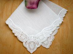 Pinwheel German Guipure Lace Ladies Handkerchief