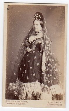 CDV Mrs Darby Griffiths Flamboyant Dress Sense society lady by White of Reading Victorian Fancy Dress, Victorian Costume, Vintage Costumes, Vintage Outfits, Star Goddess, Fancy Dress Ball, Burlesque Costumes, Flamboyant, Fashion Painting