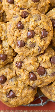 Pumpkin Oat Chocolate Chip Cookies --moist and gooey!
