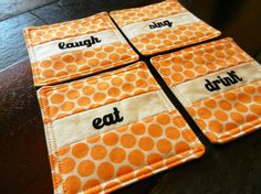 Your place to buy and sell all things handmade Polka Dot Fabric, Polka Dots, Fabric Coasters, Retro Font, Drink Coasters, Coaster Set, Screen Printing, Singing, Cream