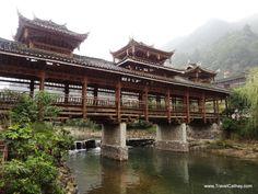 A terrace bridge in Xijiang old town, Guizhou province, China