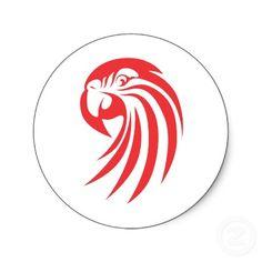 Custom Red Macaw Logo Round Sticker