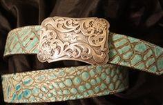 Functional Fashion Turquoise Croc Belt www.cactuskays.com #belt #westernbelt