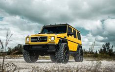 Download wallpapers Mercedes G63 AMG, 2017, yellow SUV, tuning, yellow G63, AN35, Mercedes