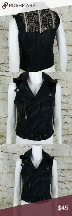 """Awesome Free People Vest! Vegan Faux leather moto vest with pretty embroidery on the back, belted waist with symmetrical zip closure  2 side pockets with zip 16"""" across from armpit to armpit and 20"""" long from shoulder to hem Free People Jackets & Coats Vests"""