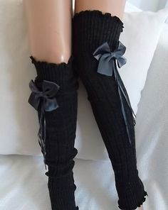Charcoal Grey  Grey Ribbon Bow  Leg Warmers