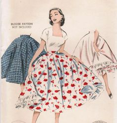 1950s Butterick 6858 UNCUT Vintage Sewing Pattern Misses' Skirt and Ruffled Petticoat