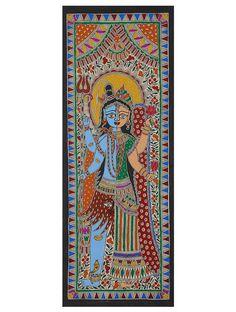 Shiva Ardhanarishwar Madhubani Artwork on Handmade Paper