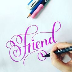 Possibly the best noun, #Friend for this week's #SimpleAlphabets_Noun ❤️❤️❤️ to all my wonderful #Calligrafriends ✨❤️ ✍ #Tombow #BrushPen  #LetteringVideo  @surelysimplechallenge @surelysimpleblog #SimpleAlphabets