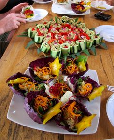 """Cucumber canapes, cabbage boats from """"Food to Live For!"""" by Eric Rivkin, available for purchase at www.vivalaraw.org #lowfatrawvegan #recipes #vegan #rawfood"""