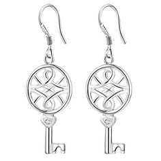 OUBEY Flower Key Popular Silver Earrings For Women Silver Earrings ** Want to know more, click on the image. Note:It is Affiliate Link to Amazon.