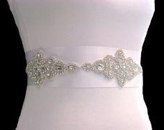 Beaded Crystal Sash Rhinestone Sash Wedding by LoveForeverBridal,