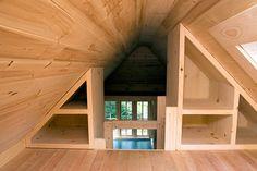 30 Ideas Loft Storage Ideas Built Ins Tiny House On Wheels Tiny House Loft, Tiny House Storage, Tiny House Living, Tiny House Design, Tiny House On Wheels, Tiny Houses, Tiny Loft, Attic House, Attic Renovation