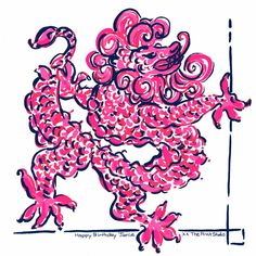 Lilly Pulitzer Preppy & Whimsical Art - Prints, Patterns, Paintings, Doodles, & Sketches - Chinese Foo Dog