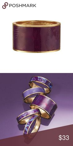 """Purple Peace Patterned Wide Bangle Avon will donate 20% of net profits from domestic violence fundraising products to the Avon Foundation for Women to support Speak Out Against Domestic Violence programs. Wear wide bangle alone or stack multiples   FEATURED • Unique purple patterned butterfly sticker on the outside • Inside diameter of the bracelet is 2"""" x 2 7/16"""" • Width of bracelet is 1 9/16"""" • Hinged closure Avon Jewelry Bracelets"""