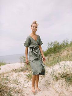 Maternity dress / Wrap linen dress / Oversized linen dress /