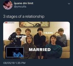 Lol Poor j-hope he isn't here I feel like hobi gets missed out too much in these pictures But these are true enough I guess Taekook -months Yoonmin - years Namjin - married ( mom + dad ) Yoonmin, Taekook, Namjin, Bts Boys, Bts Bangtan Boy, Jimin Jungkook, K Pop, Famous Meme, Relationship Stages