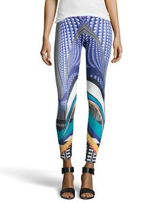 Mixed Wave Print Scuba Leggings, Blue by Romeo & Juliet Couture at Neiman Marcus Last Call.