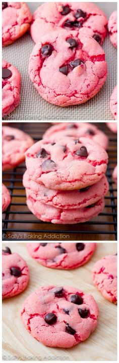strawberry chocolate chip cookies. Use cherry and these could be chocolate covered cherry cookies.