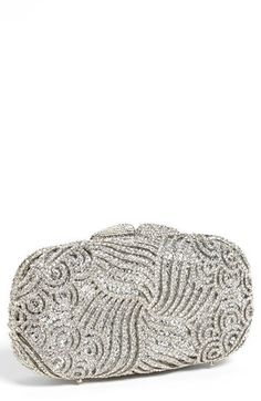 $298, Silver Embroidered Clutch: Tasha Crystal Swirl Clutch Silver. Sold by Nordstrom.