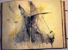 Incredible Watercolor ilustration of J.R.R Tolkien