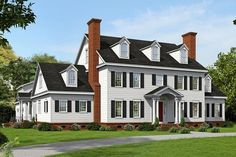 HOUSE PLAN – This fabulous Colonial house design features amazing curb appeal on the exterior and a large family friendly interior layout. Approximately square feet of living space is found in the home's interior and there are an additional Colonial House Plans, Colonial Style Homes, House Floor Plans, Colonial Exterior, 6 Bedroom House Plans, Large House Plans, Traditional House Plans, The Plan, How To Plan