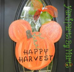 Mickey pumpkin ears halloween door hanger fall by yardpartsbymarts
