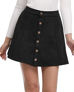 84d6f5de9 Argstar Womens Faux Suede Button Closure A-Line Mini Short Skirt, Black,  Large. Women Fashion ...