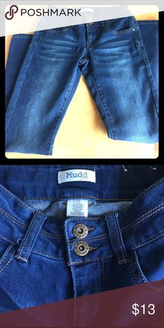NWOT Super comfy jeans - girls size 12 Extra soft and comfy jeans.  Dark blue. Brand new without tags. Size 12 Mudd Bottoms Jeans