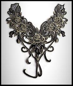 Faux col applique dentelle brodée fleurs noires et beiges  - mercerie - couture - tricot - embellissement - customisation.- cérémonie - mariage.