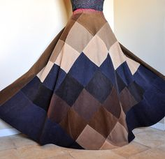 Chocolate and Cream  Long Corduroy Hippie Skirt by BarefootModiste