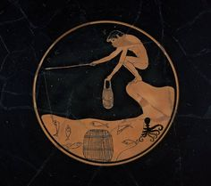Drinking cup (kylix), Greek, Late Archaic Period, about 510–500B.C., the Ambrosios Painter, Athens, Attica, Greece (from theshipthatflew via: MFA)