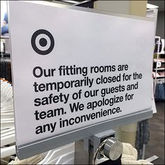 CoronaVirus Closes Fitting Rooms Notice Store Fixtures, Cold Remedies, Close Up, Surface, Target, Self, Retail, Rooms, Bedrooms