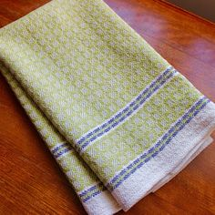 Handwoven Towel Dish Chef Hand Woven Kitchen Cotton Linen Off White Natural Greenery Bright Green Large Block Twill Cotton Linen, White Cotton, Weaving Projects, Weaving Patterns, Pantone Color, Woven Fabric, Loom, Hand Weaving, Diy And Crafts
