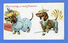 OLD-VINTAGE-POSTCARD-ANIMALS-DOGS-DACHSHUND-BOY-FOLLOWING-GIRL.