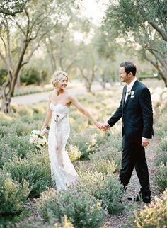 Walking through the garden together: http://www.stylemepretty.com/2016/10/07/san-ysidro-ranch-garden-wedding/ Photography: Kristen Beinke - http://kristenbeinke.com/