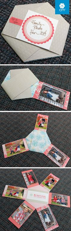 """You'll need: 3 Designer Papers, Hex Pattern & CCs. Using the Hexagon template & red blade, cut hexagon shape. From each of other two papers, cut 3 strips that measure 3.75"""" x 7.5"""". Fold a flap in measuring 1"""" on each strip. Adhere strips (alternating) to hexagon by attaching flap to backside using Tape Runner. Add photos and (optionally) a quote from coordinating Slide-In Pack. Fold flaps in and trim shape from Slide-In Pack & adhere. #CreativeMemories creativememories.com search hexagon"""