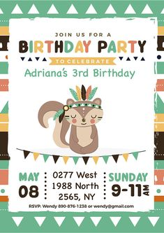 Birthday Party For Teens, Kids Birthday Party Invitations, Birthday Wishes, Printable Invitations, Party Printables, Tribal Theme, Animal Birthday, Woodland Party, Diy Party Decorations