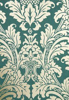 Blake Damask Wallpaper Aqua Damask wallpaper with mottled pattern throughout and elegant pale gold metallic motif.
