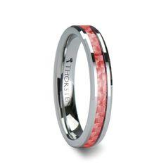 INGRID 4mm-6mm Beveled Tungsten Carbide Ring with Pink Carbon Fiber