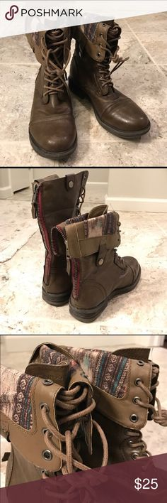 Madden Girl Brown Combat Boots - Inside Pattern These boots can be worn fully up, folded slightly down, or folded down low to show off the beautiful tribal print inside. There are buttons on the sides to hold the folds in place. These are in very good condition. Madden Girl Shoes Combat & Moto Boots