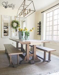 Free Furniture Plans and Tutorial to build this Pottery Barn Inspired dining room table. Farmhouse Dining Benches, Farmhouse Table Plans, Diy Dining Table, Modern Farmhouse, Table Bench, Farmhouse Style Table, Table Legs, Trestle Table Plans, Ikea Dining