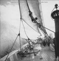 Schooner 'Bowdoin' navigating Strait of Belle Isle, 1947